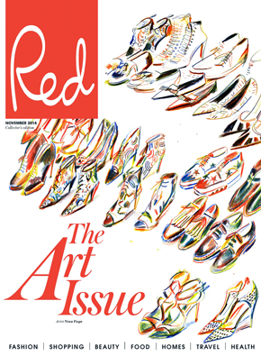 red magazine art cover